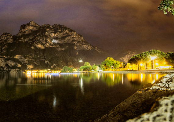 Garda lake, nightview on Riva del Garda.